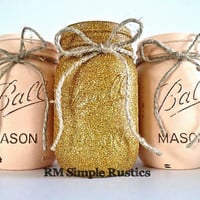 Rustic nursery decor- peach and glitter mason jars, painted mason jars, rustic centerpiece, home decor, housewares, pink girls nursery