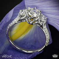 "18k White Gold Vatche ""Swan"" 3 Stone Engagement Ring (0.50ctw ACA side stones included)"