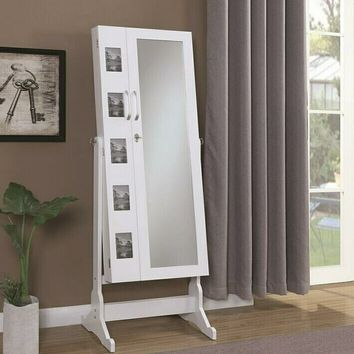 White finish wood free standing cheval floor mirror jewelry armoire cabinet