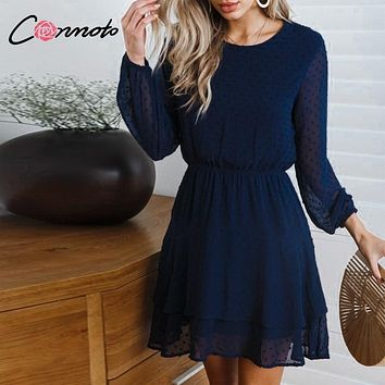 Conmoto Vintage Party Women Dress Casual Elegant Long Sleeve Polka Dot Dress Solid Short Winter Chiffon Dress Vestidos