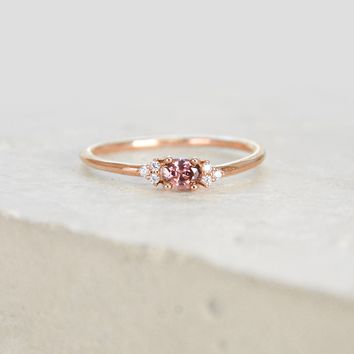 Dainty Oval Ring - Rose Gold + Rhodolite