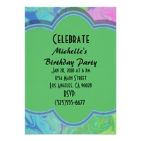 Colorful Green Blue Abstract Party Invite