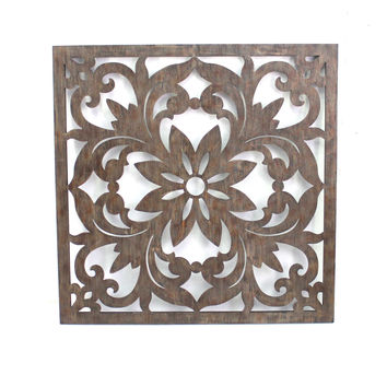 Vintage Dark Bronze Floral Wall Plaque