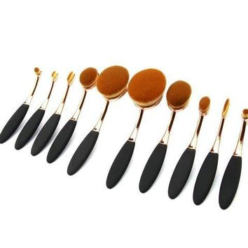 Oval 10 Piece Makeup Brush Set