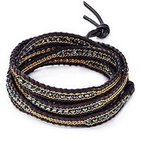 Chan Luu Five Wrap Bracelet With Crystal & Chain