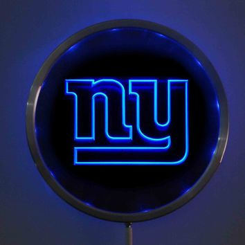 rs-0140 New York Giants LED Neon Round Signs 25cm/ 10 Inch - Bar Sign with RGB Multi-Color Remote Wireless Control Function