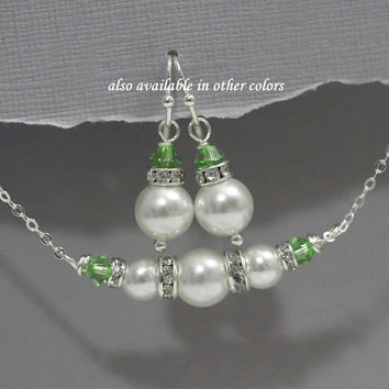 Light Green Bridesmaid Jewelry Set, Personalized Bridesmaids Gifts, Swarovski White Pearl and Peridot Crystal Bridesmaid Jewelry Set