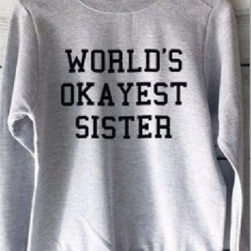 DCCKR2 Long sleeves English Sweater personality couple sweater WORLD S OK AYEST