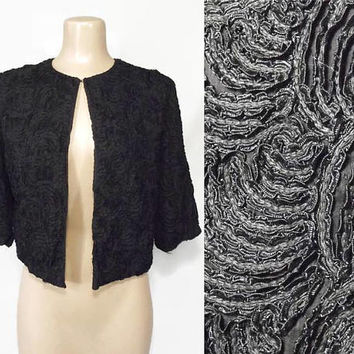 Vintage 50s Bolero Jacket | 1950s Cropped Jacket | Black Soutache Jacket | Mourning Jacket | Evening Jacket | Ribbon Soutache | Embroidered