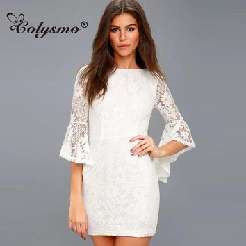 Colysmo Sexy Flare Sleeve Lace Dress Low Back Slim Waist Summer Dresses Black Casual Women's Mini Bodycon Party Dress Vestidos