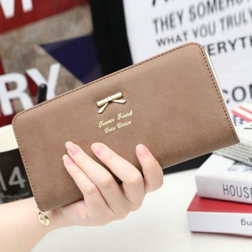 Hot Fashion Novelty Women Clutch Long Bow Purse Wallet Card Holder Handbag Bag PU Leather Polyester Material 2017 New