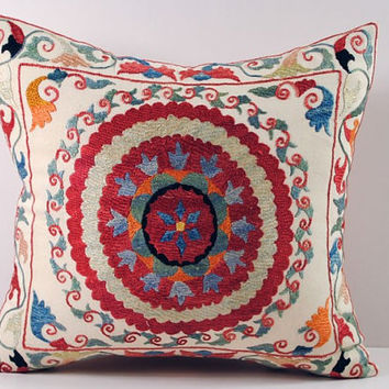 Handmade Suzani Pillow Cover ssp1-06, Suzani Pillow, Uzbek Suzani, Suzani Throw, Boho Pillow, Suzani, Decorative pillows, Accent pillows