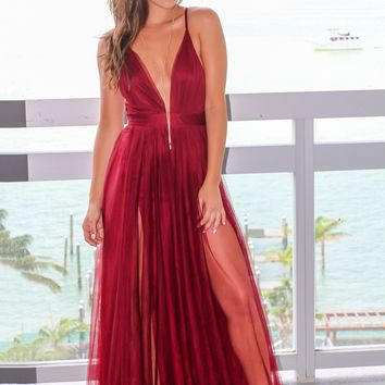 Wine Tulle Maxi Dress with Criss Cross Back
