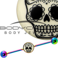 Glow in the Dark Sugar Skull Industrial Barbell in Rainbow Titanium | Body Candy Body Jewelry