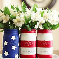 American Flag Mason Jar 3 pack by uniQdesign on Etsy