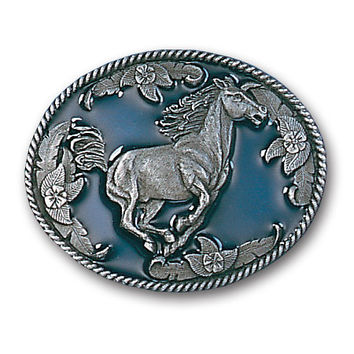 Galloping Horse Enameled Belt Buckle