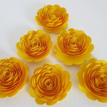 "Bright Yellow 3"" paper roses 6 Loose flowers for table scatter centerpiece, bridal shower decor, banquet decorations, decorating ideas"