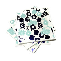 Navy and Light Blue Floral Ceramic Coasters, Set of Four