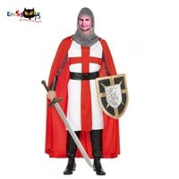 European Crusaders Costume Adult Medieval Warrior Fancy Knight Costume Men Rope Cape Halloween Roman Royalty Cosplay Comic Con