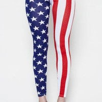 USA Stars and Stripe Print Leggings