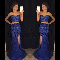 New Arrival Beaded Prom Dresses 2017 Evening Gowns Two Pieces Sleeveless Long Party Dress For Graduation Vestidos Longos