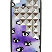 Eye On Purp Silver Studded Pyramid iPhone 4/4s Case