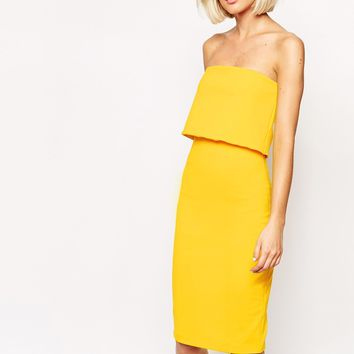 Lavish Alice Bandeau Bodycon Midi Dress with Cropped Detail