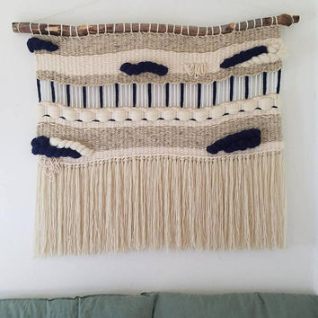 "Large Woven Wall Hanging, Handmade Tapestry, Mid Century Modern, Boho Decor, Macrame hanging, Fiber Art "" Royal"""