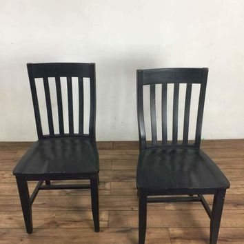 Pair of Pottery Barn Black Painted Wood Side Chairs