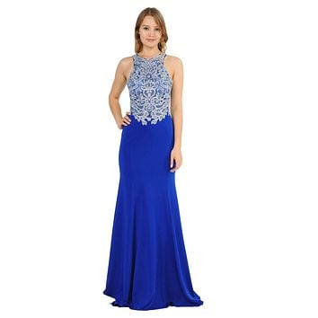 Royal Blue Mermaid Long Prom Dress with Lace Appliques