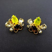 Rhinestone Bee Earrings Signed Bauer Clip on Style Busy Bees Yellow Black & Clear Rhinestones Flying Insect Vintage 1970s Bumble Bee Jewelry