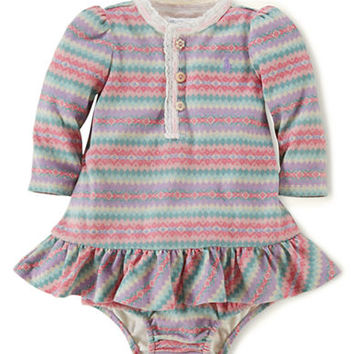 Ralph Lauren Childrenswear Fair Isle Lace-Trimmed Dress & Bloomer Set
