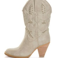 Very Volatile Denver Off White Embroidered Cowboy Boots - $78.00