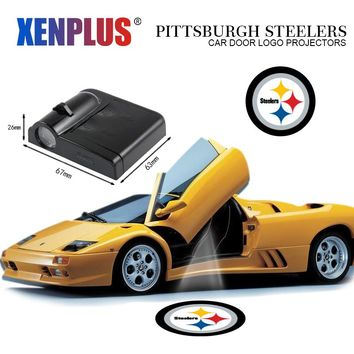 Xenplus Car Door Welcome LED Light Laser Projector NFL for Pittsburgh Steelers Car-styling Auto Decorative Lamp Ghost Shadow