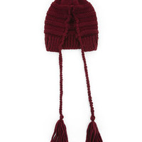 BCBG Cable-Knit Tassel-Detail Slouch Hat