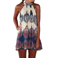 2016  Boho Dress Printed Halter Style Sleeveless Hippie Mini Summer Dress Plus Size Vestidos Women Beach