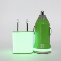 Glow in the Dark trim on Green iPhone wall and car charger set - iPhone 5 compatible