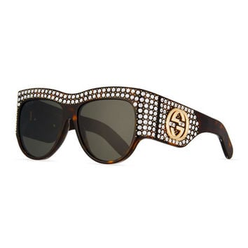 Gucci Chunky Swarovski® Wrap Sunglasses, Brown Havana