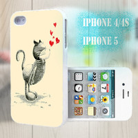 unique iphone case, i phone 4 4s 5 case,cool cute iphone4 iphone4s 5 case,stylish plastic rubber cases cover,  cat red  love heart  p978