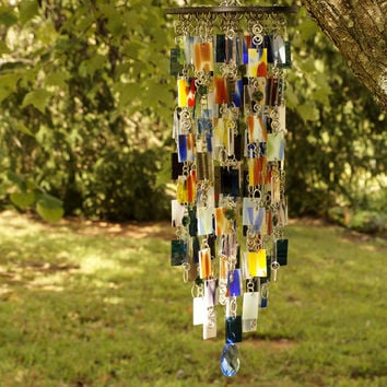 Stained Glass - Colored Glass - Wind Chimes - Sun Catcher - OOAK - WILSON
