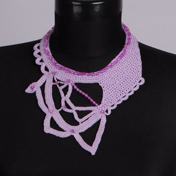 One only,Knitted jewelry set,Knit necklace,Purple necklace,Crochet bib,Crochet earrings,Office,Unique Necklaces For Women,Gift for her