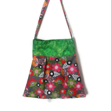 Pleated Floral and Green Tote Bag - Large Tote Bag -Pleated Tote Bag -Large Floral Bag - Modern Tote Bag