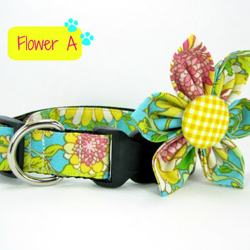 Dog Collar with Flower set- Aqua Blue and Yellow Floral Print (Mini,X-Small,Small,Medium ,Large or X-Large Size)- Adjustable