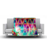 "Caleb Troy ""Neon Triangle Galaxy"" Map Fleece Throw Blanket"