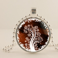 "Brown and white tree, 1"" round glass and metal Pendant necklace Jewelry."