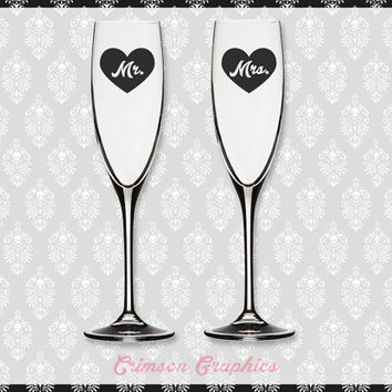 Mr. + Mrs. Two of a Kind || Toasting Flute Champagne Set
