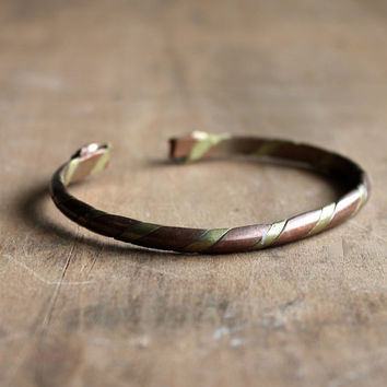 Twisted - Vintage Copper and Brass Bracelet - Cuff - Boho - Southwest - Jewelry - Accessories