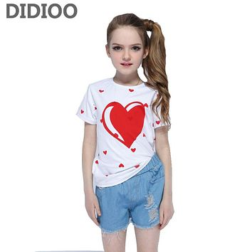 Baby Girls Clothing Sets Summer Cotton Tops & Denim Pants Suits Child Outfits Teenage Clothes Set Girls Shirts Jeans Shorts Sets