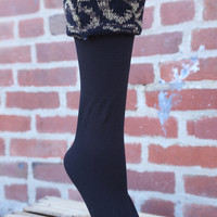 Fleece Lined Boot Liner {Black with Leopard Pattern Top}
