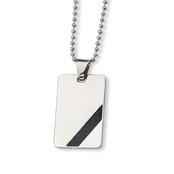 Stainless Steel and Carbon Fiber Dog Tag Necklace
